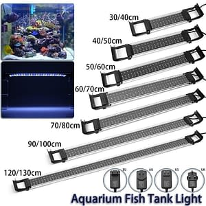 Aquarium Light Blue/White Bar  Lamp 30-120cm Adjustable Dimmable Light