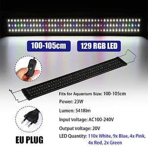 100-105cm 23W Aquarium LED Light with Extendable Brackets 129 LEDs