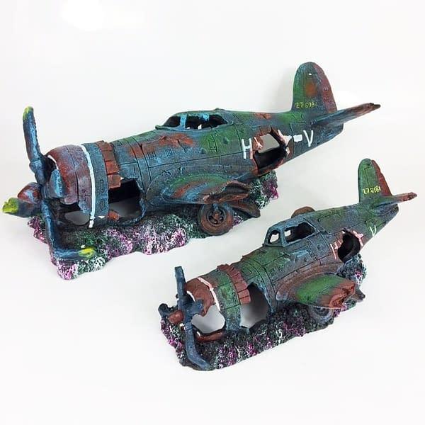 resin fish tank ornament cave aquarium decoration damaged battleplane fighter plane 1
