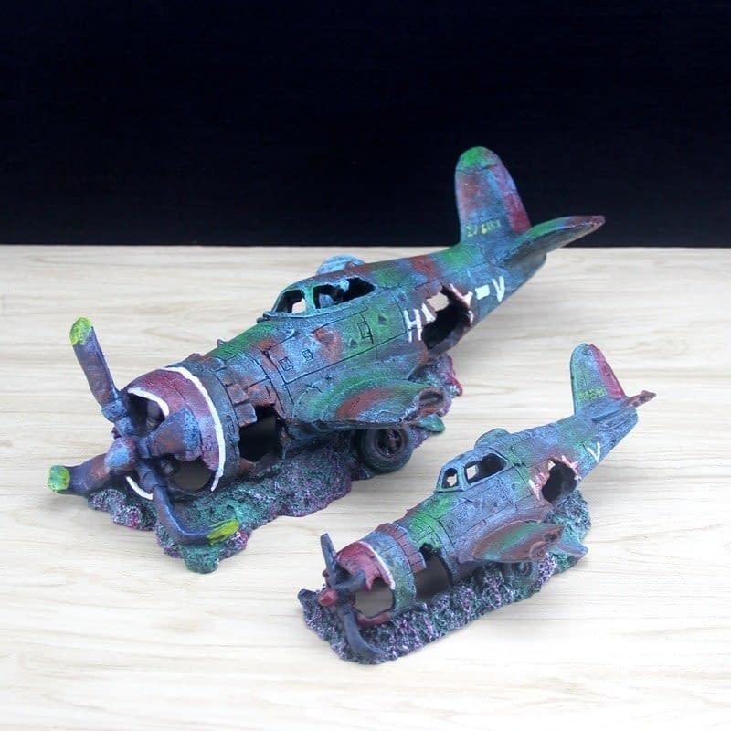 Aquarium Ornament Fighter Plane Resin Wreck Airplane