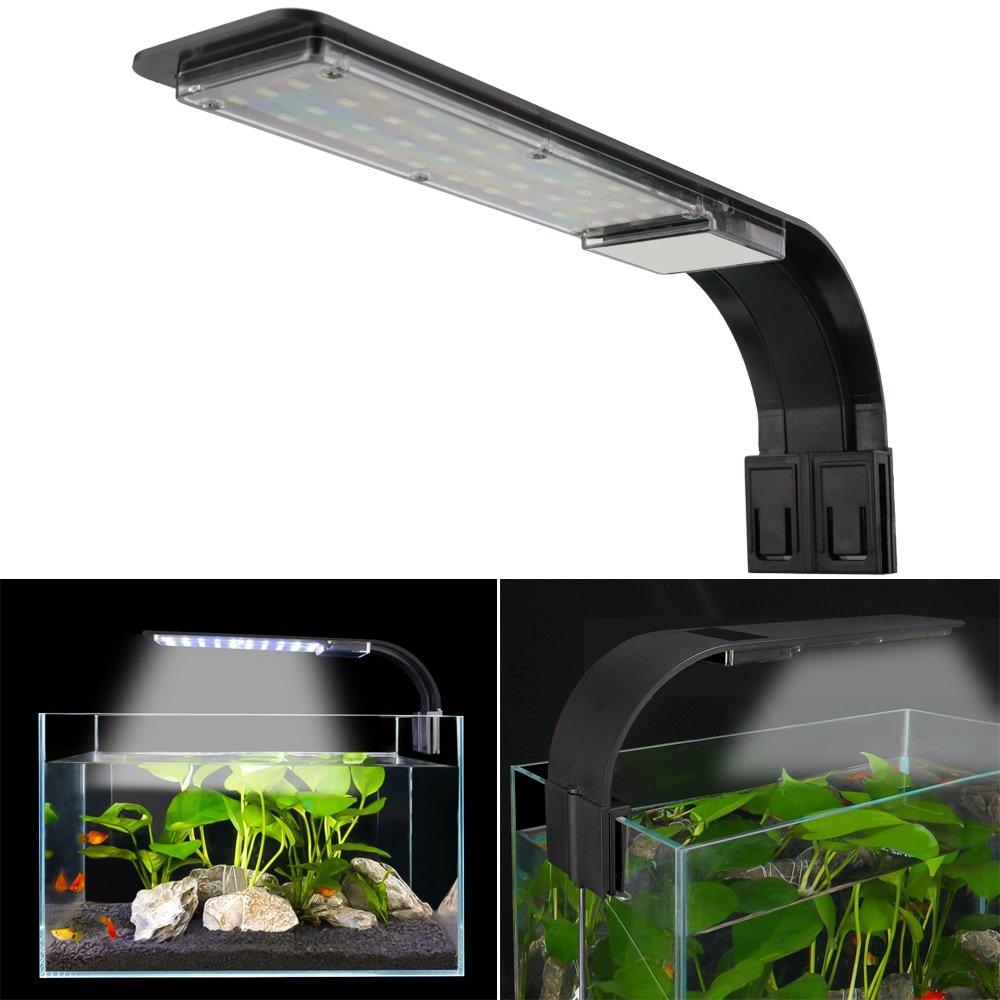 Senzeal X9 Super Slim Aquarium LED Light 15W Clip-on Aquarium Lighting 2000LM Freshwater Fish Tank Lamp 110-240V Waterproof