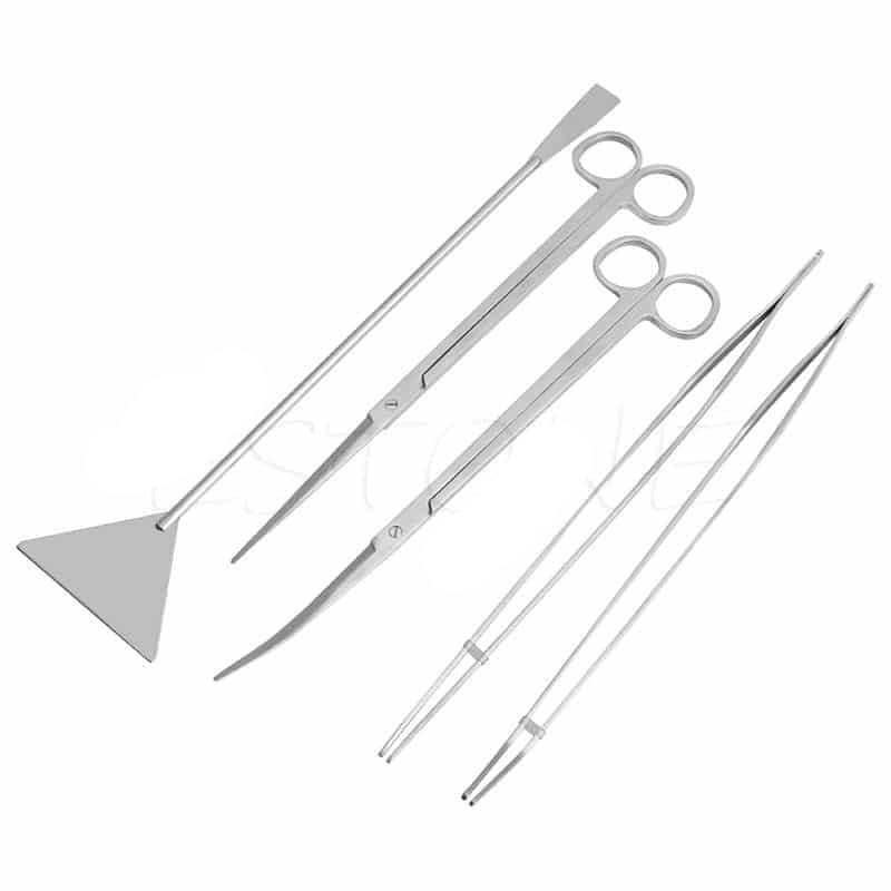 3/5Pcs Aquarium Live Plants Long Handle Tweezers Scissors Maintenance Tool Set
