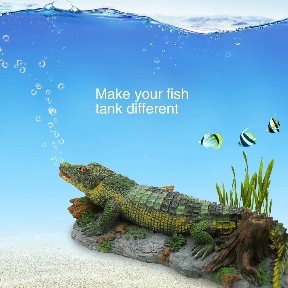 Aquarium Crocodile Decoration with Air Bubbler